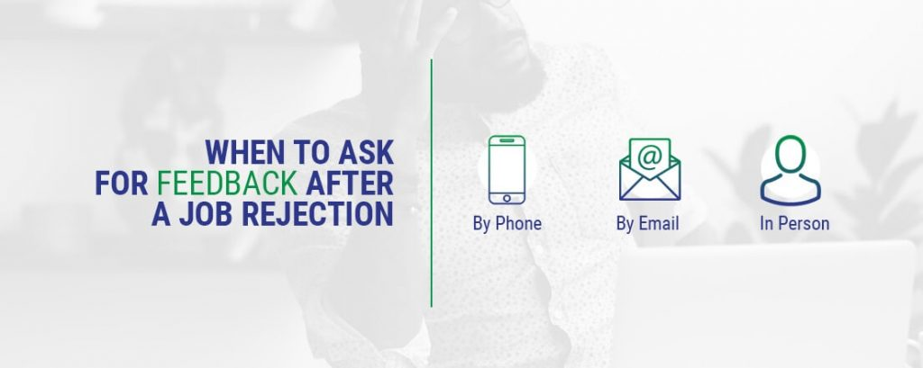 a graphic explaining when to ask for feedback after a job rejection