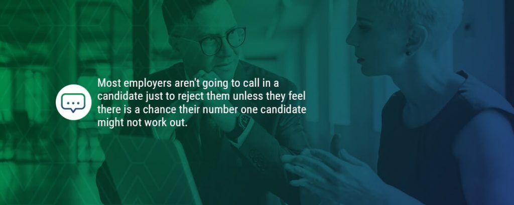a graphic explaining that employers aren't going to call you if they're going to reject you