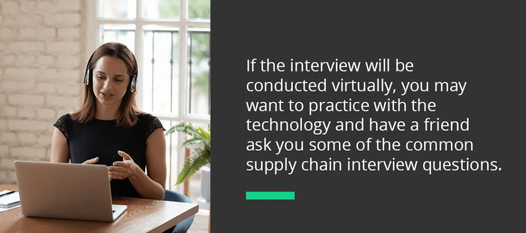 a supply chain candidate doing a virtual interview